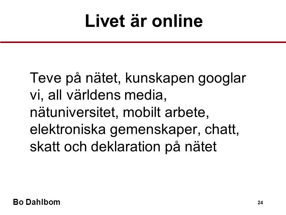 Bo Dahlbom 24 •Teve på nätet, kunskapen googlar vi, all världens media, nätuniversitet, mobilt arbete, elektroniska gemenskaper, chatt, skatt och deklaration på nätet Livet är online
