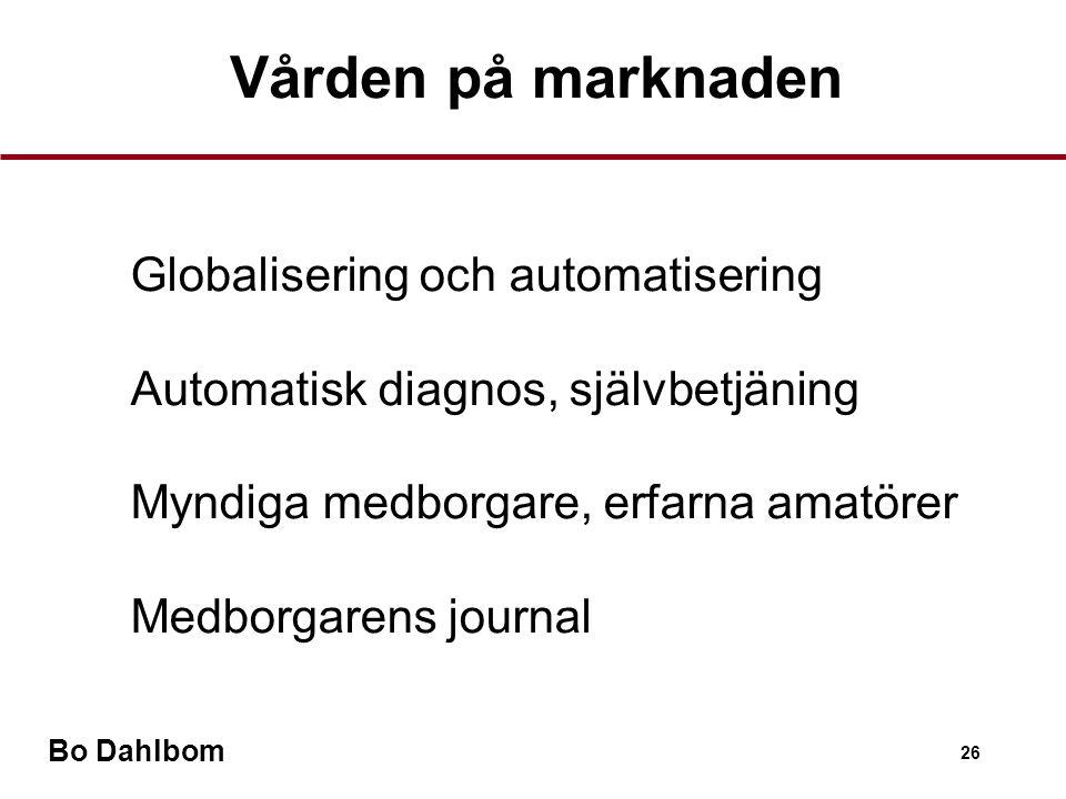Bo Dahlbom 26 Vården på marknaden •Globalisering och automatisering •Automatisk diagnos, självbetjäning •Myndiga medborgare, erfarna amatörer •Medborgarens journal