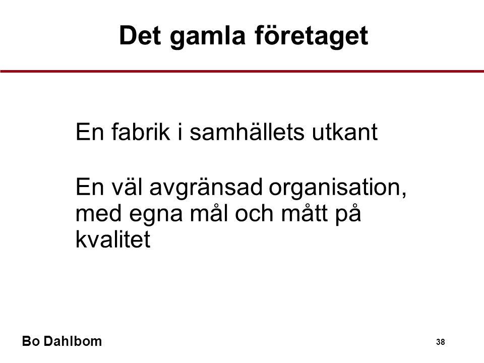 Bo Dahlbom 38 Det gamla företaget •En fabrik i samhällets utkant •En väl avgränsad organisation, med egna mål och mått på kvalitet