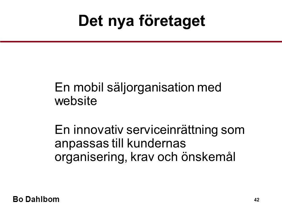 Bo Dahlbom 42 •En mobil säljorganisation med website •En innovativ serviceinrättning som anpassas till kundernas organisering, krav och önskemål Det nya företaget