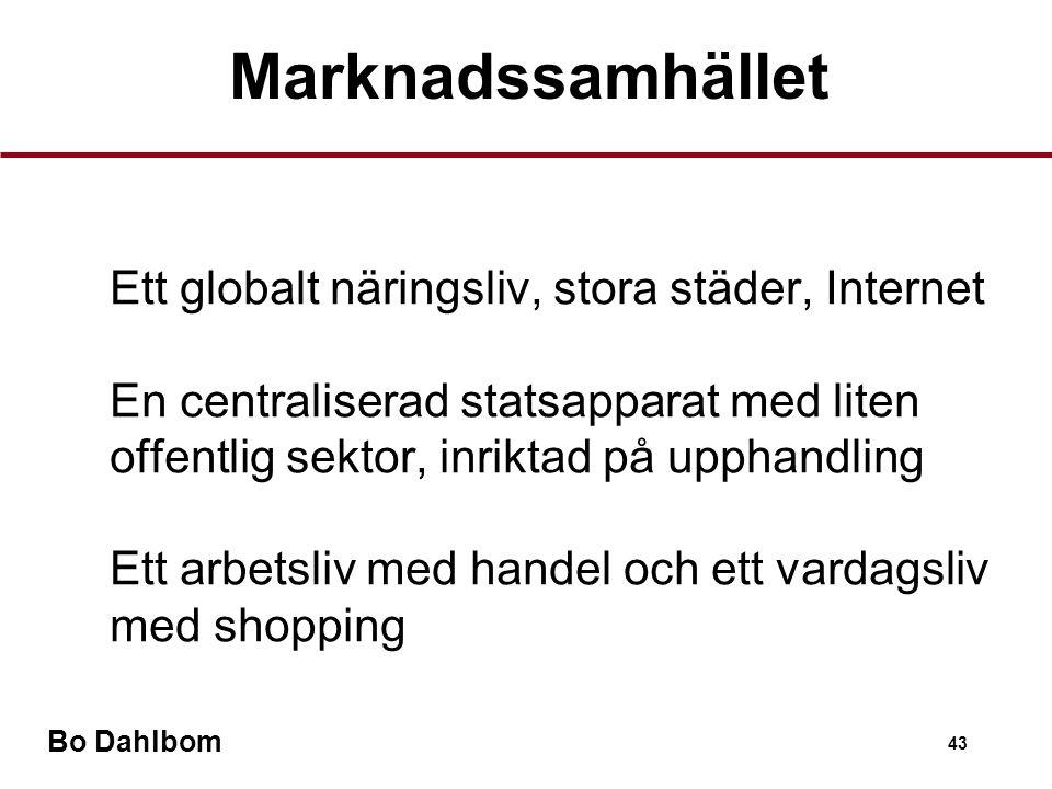 Bo Dahlbom 43 •Ett globalt näringsliv, stora städer, Internet •En centraliserad statsapparat med liten offentlig sektor, inriktad på upphandling •Ett arbetsliv med handel och ett vardagsliv med shopping Marknadssamhället