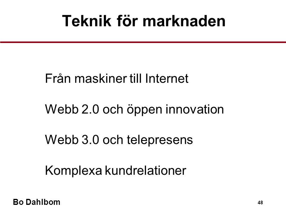 Bo Dahlbom 48 Teknik för marknaden •Från maskiner till Internet •Webb 2.0 och öppen innovation •Webb 3.0 och telepresens •Komplexa kundrelationer