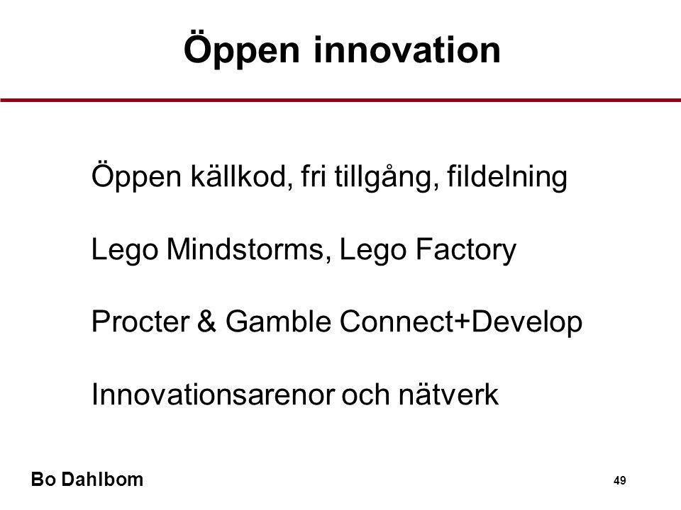 Bo Dahlbom 49 Öppen innovation •Öppen källkod, fri tillgång, fildelning •Lego Mindstorms, Lego Factory •Procter & Gamble Connect+Develop •Innovationsarenor och nätverk