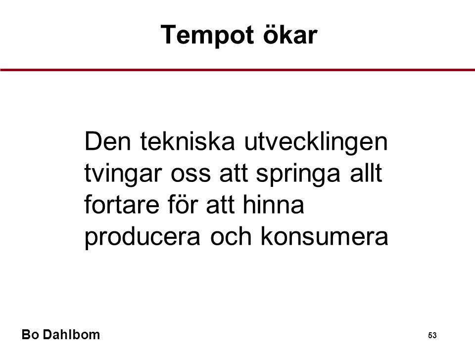 Bo Dahlbom 53 Den tekniska utvecklingen tvingar oss att springa allt fortare för att hinna producera och konsumera Tempot ökar