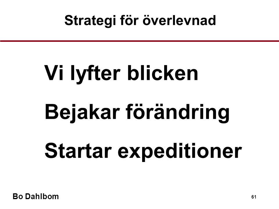 Bo Dahlbom 61 Vi lyfter blicken Bejakar förändring Startar expeditioner Strategi för överlevnad
