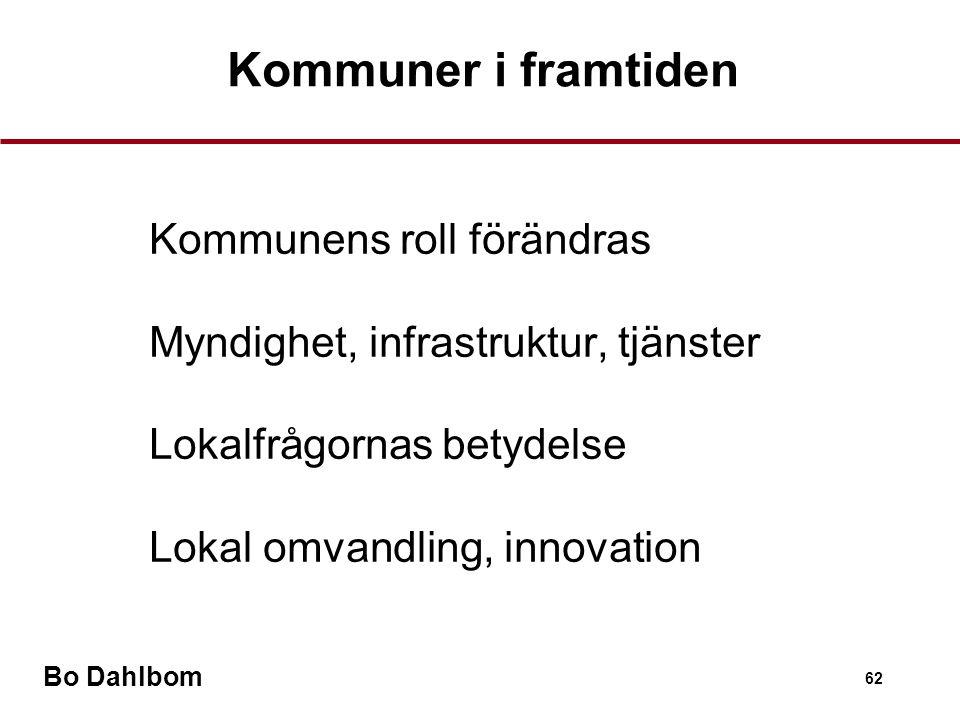 Bo Dahlbom 62 Kommuner i framtiden •Kommunens roll förändras •Myndighet, infrastruktur, tjänster •Lokalfrågornas betydelse •Lokal omvandling, innovation