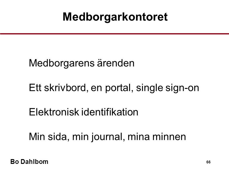 Bo Dahlbom 66 Medborgarkontoret •Medborgarens ärenden •Ett skrivbord, en portal, single sign-on •Elektronisk identifikation •Min sida, min journal, mina minnen