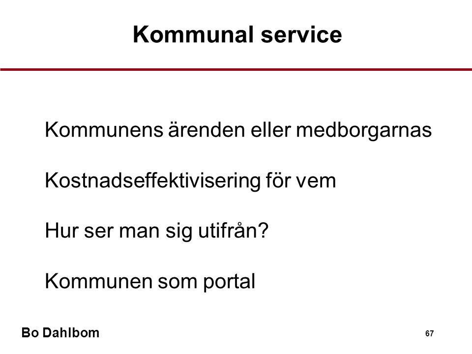 Bo Dahlbom 67 Kommunal service •Kommunens ärenden eller medborgarnas •Kostnadseffektivisering för vem •Hur ser man sig utifrån.