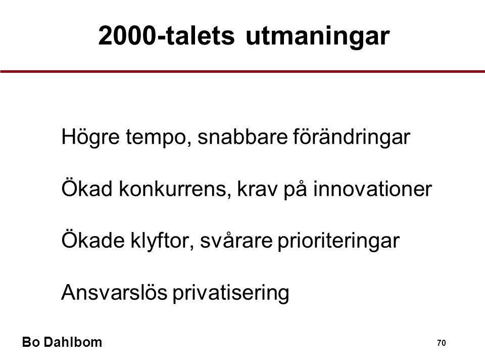 Bo Dahlbom 70 2000-talets utmaningar •Högre tempo, snabbare förändringar •Ökad konkurrens, krav på innovationer •Ökade klyftor, svårare prioriteringar •Ansvarslös privatisering