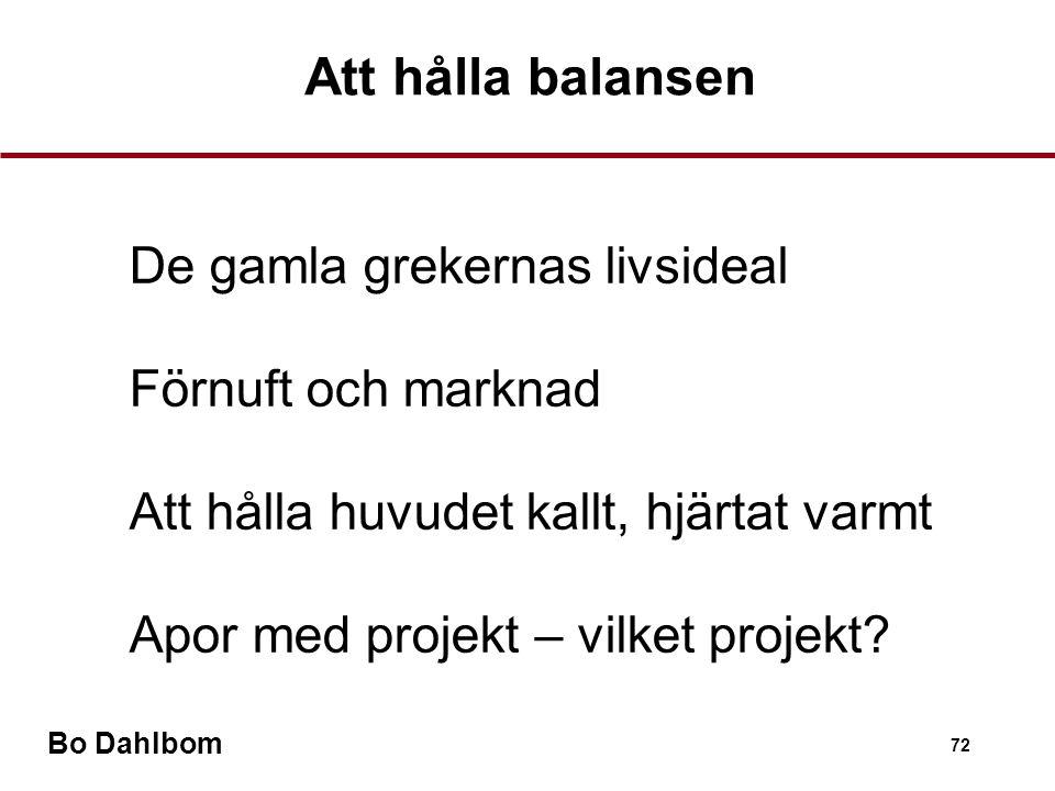 Bo Dahlbom 72 Att hålla balansen •De gamla grekernas livsideal •Förnuft och marknad •Att hålla huvudet kallt, hjärtat varmt •Apor med projekt – vilket projekt?