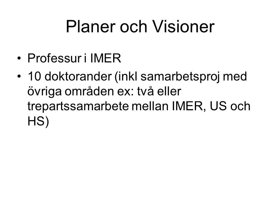 Planer och Visioner •Professur i IMER •10 doktorander (inkl samarbetsproj med övriga områden ex: två eller trepartssamarbete mellan IMER, US och HS)