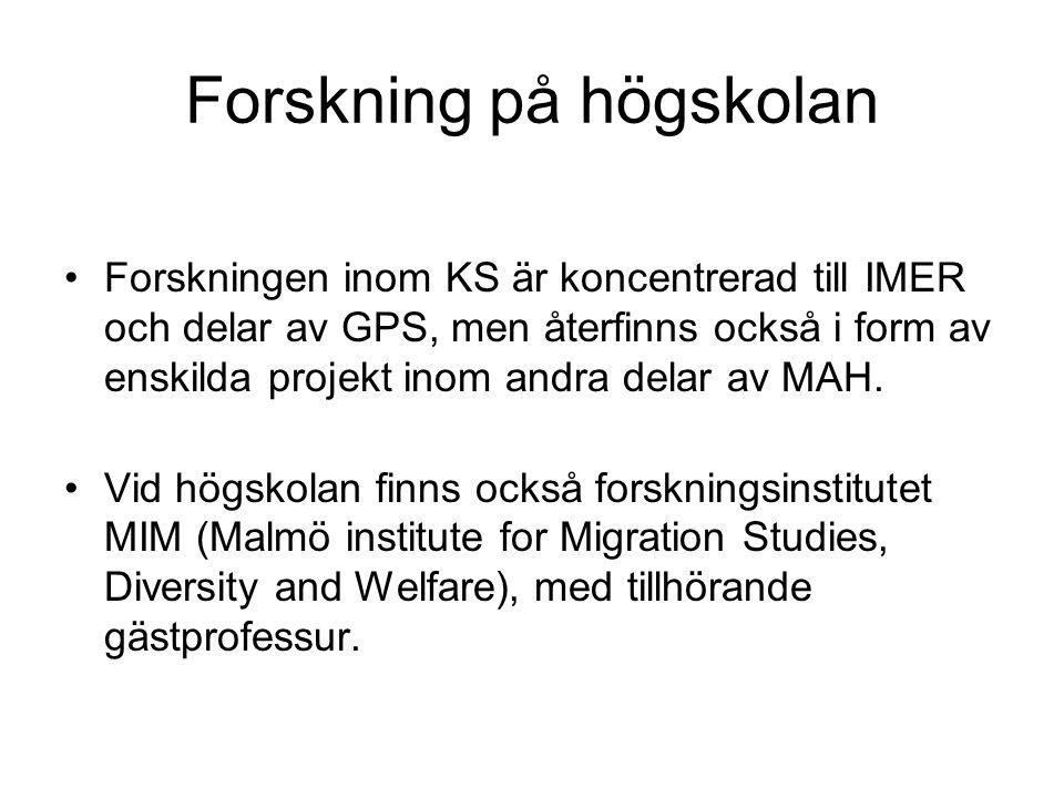 Forskning på högskolan •Forskningen inom KS är koncentrerad till IMER och delar av GPS, men återfinns också i form av enskilda projekt inom andra delar av MAH.