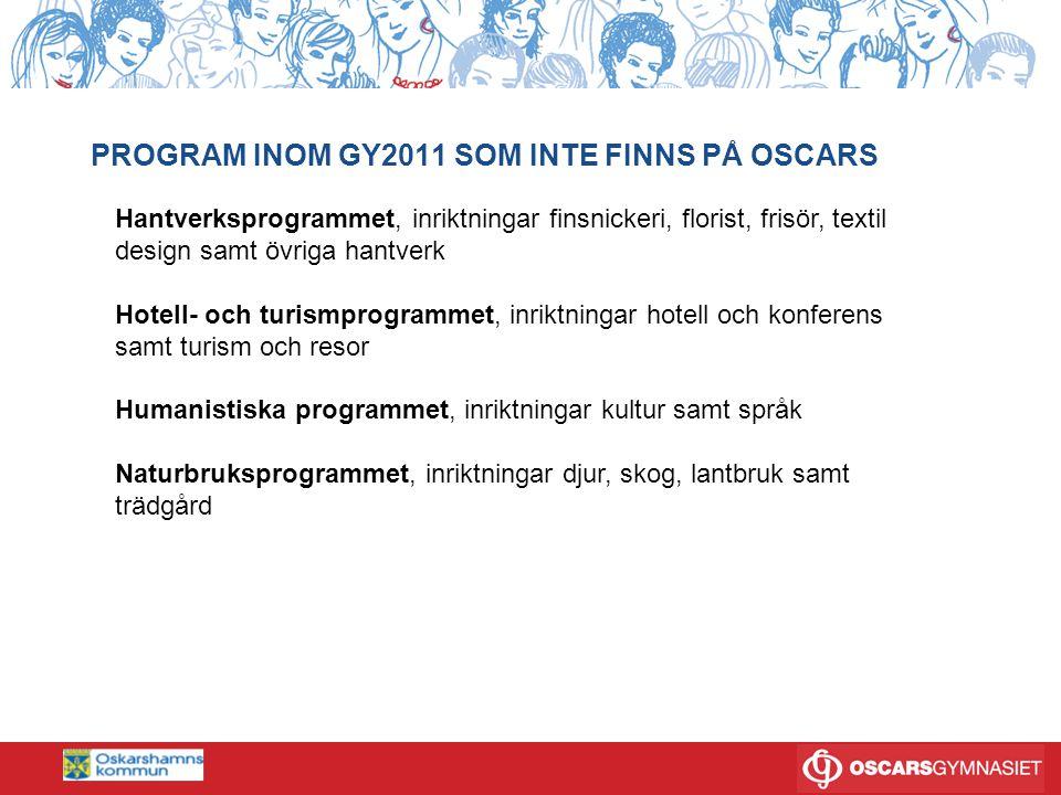 PROGRAM INOM GY2011 SOM INTE FINNS PÅ OSCARS Hantverksprogrammet, inriktningar finsnickeri, florist, frisör, textil design samt övriga hantverk Hotell