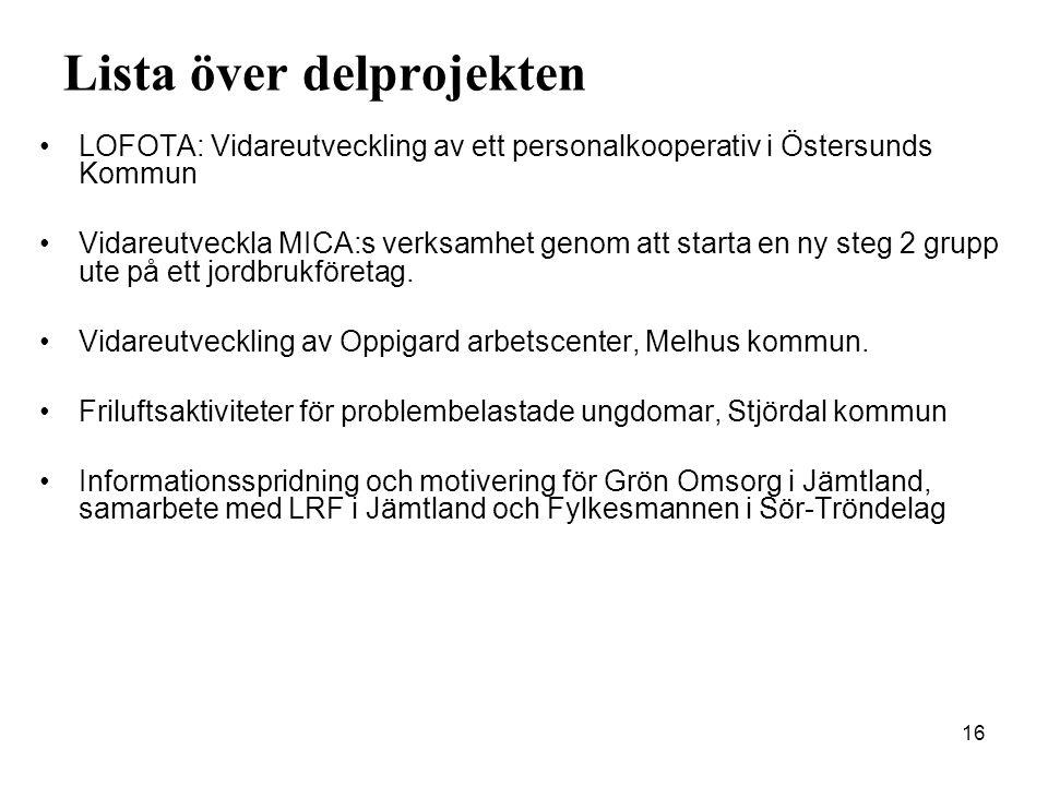 16 Lista över delprojekten •LOFOTA: Vidareutveckling av ett personalkooperativ i Östersunds Kommun •Vidareutveckla MICA:s verksamhet genom att starta en ny steg 2 grupp ute på ett jordbrukföretag.