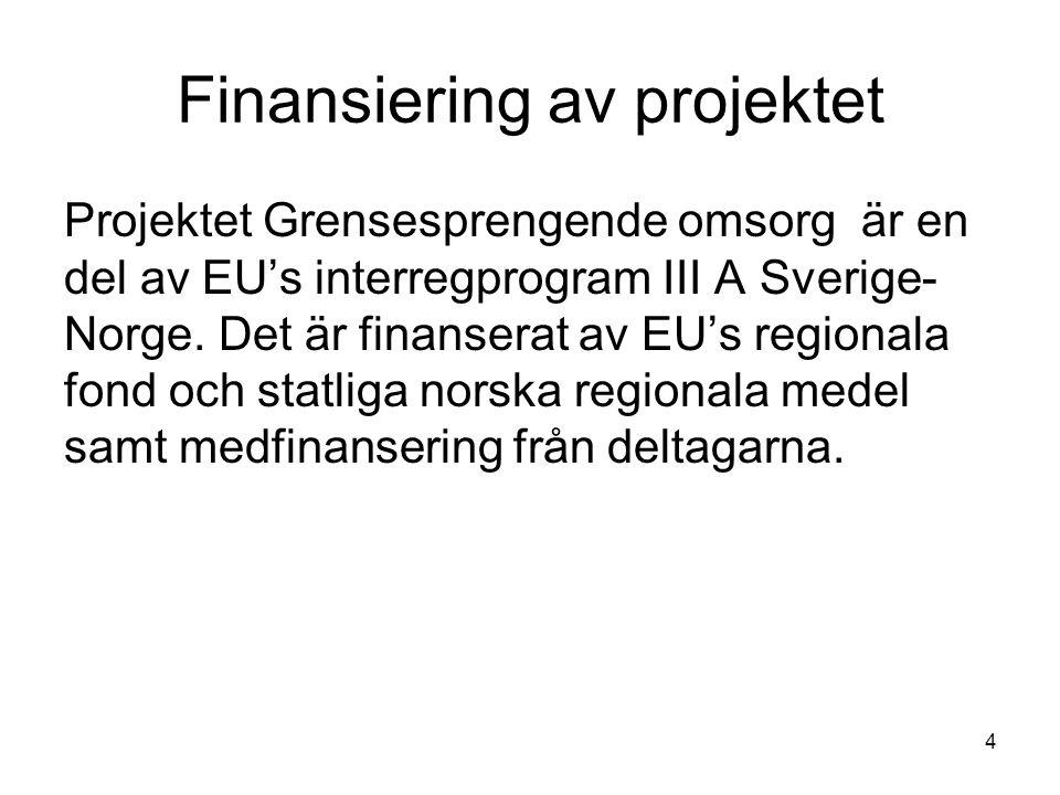 4 Finansiering av projektet Projektet Grensesprengende omsorg är en del av EU's interregprogram III A Sverige- Norge.
