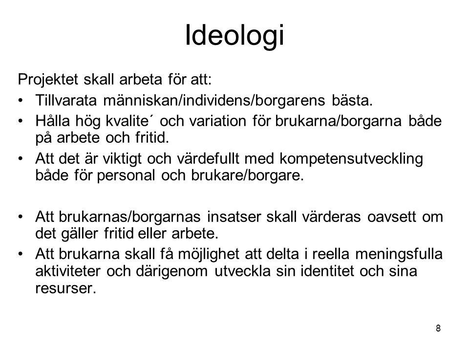 8 Ideologi Projektet skall arbeta för att: •Tillvarata människan/individens/borgarens bästa.