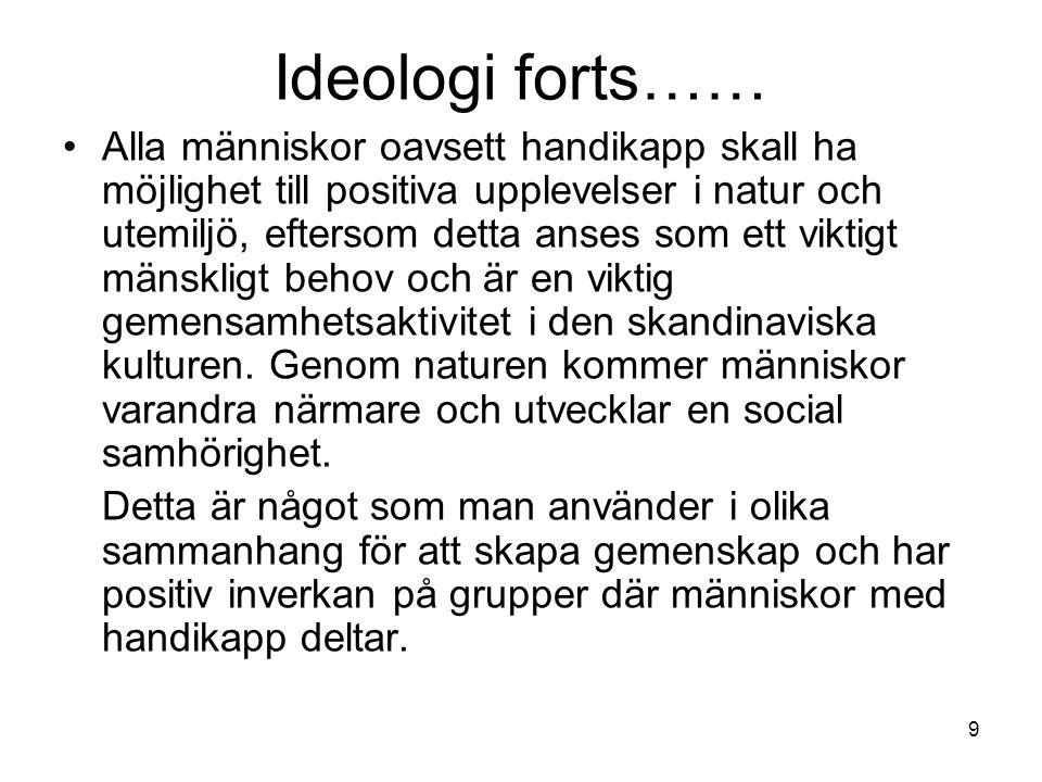 9 Ideologi forts…… •Alla människor oavsett handikapp skall ha möjlighet till positiva upplevelser i natur och utemiljö, eftersom detta anses som ett viktigt mänskligt behov och är en viktig gemensamhetsaktivitet i den skandinaviska kulturen.