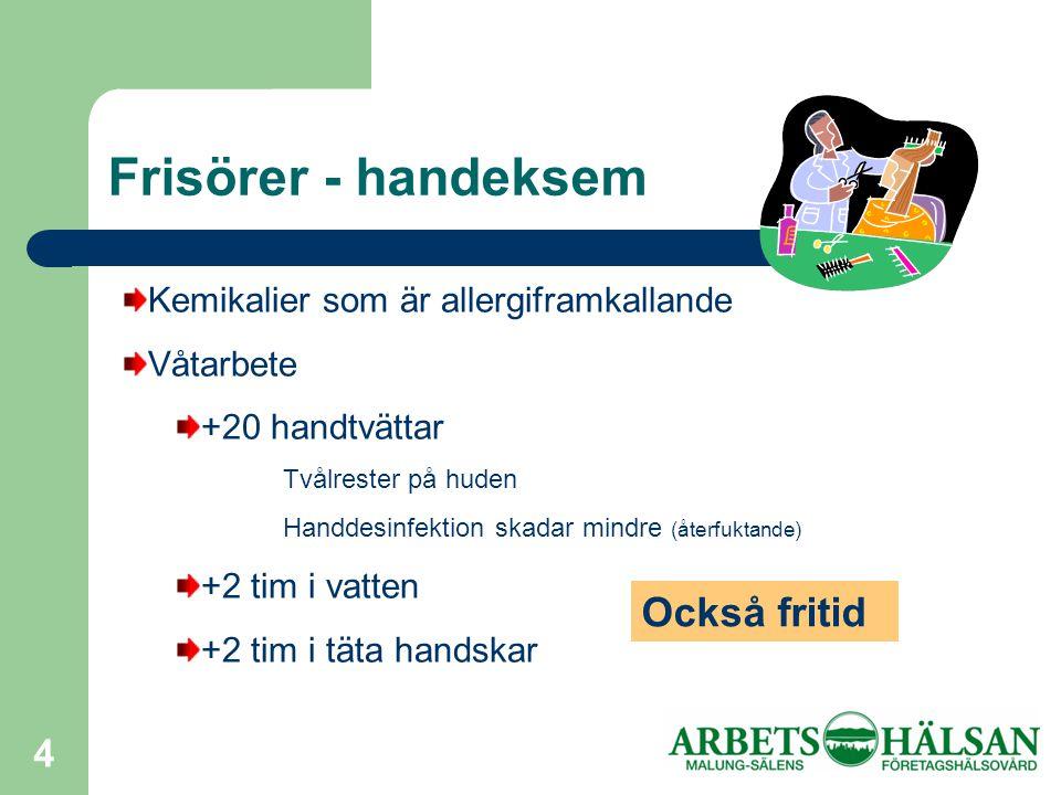 4 Frisörer - handeksem Kemikalier som är allergiframkallande Våtarbete +20 handtvättar Tvålrester på huden Handdesinfektion skadar mindre (återfuktande) +2 tim i vatten +2 tim i täta handskar Också fritid