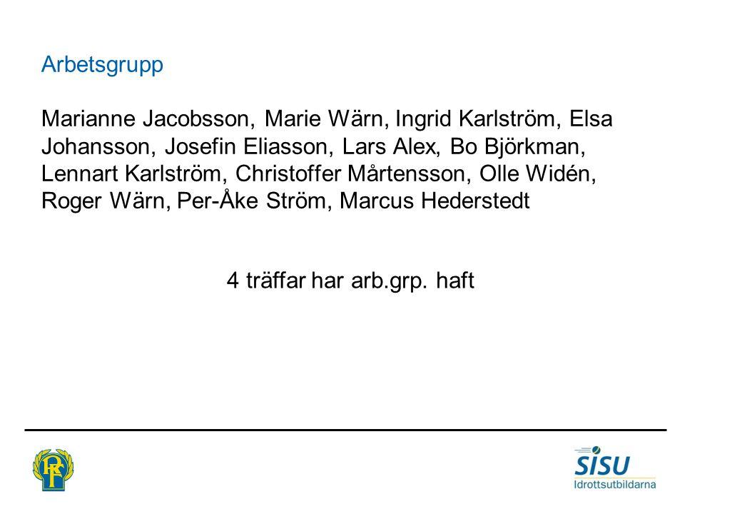 Arbetsgrupp Marianne Jacobsson, Marie Wärn, Ingrid Karlström, Elsa Johansson, Josefin Eliasson, Lars Alex, Bo Björkman, Lennart Karlström, Christoffer Mårtensson, Olle Widén, Roger Wärn, Per-Åke Ström, Marcus Hederstedt 4 träffar har arb.grp.