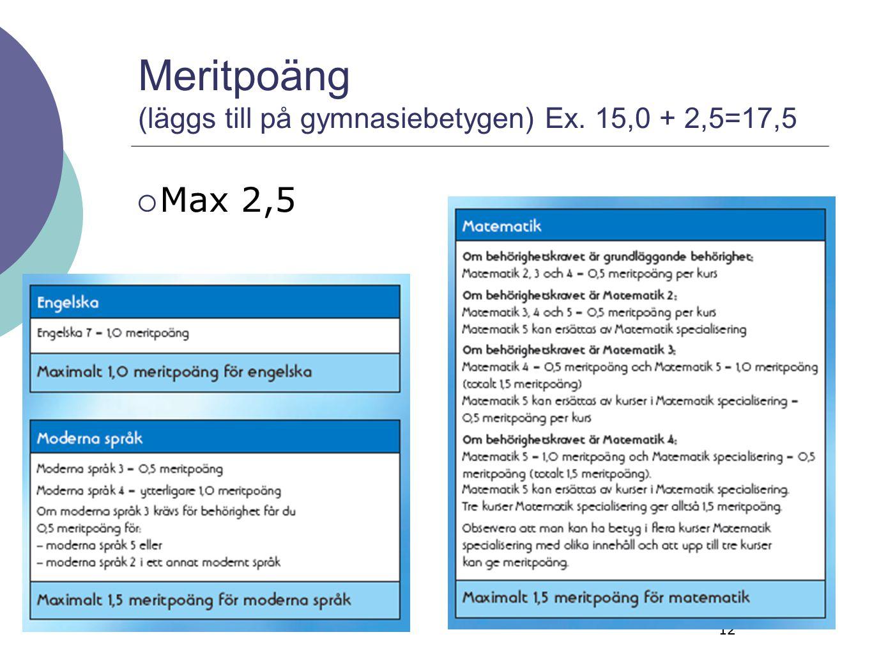 12 Meritpoäng (läggs till på gymnasiebetygen) Ex. 15,0 + 2,5=17,5  Max 2,5 12