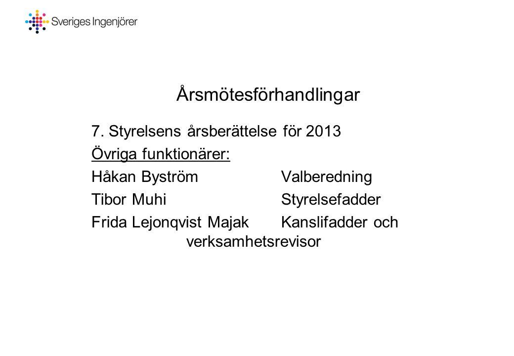 Årsmötesförhandlingar 7. Styrelsens årsberättelse för 2013 Övriga funktionärer: Håkan ByströmValberedning Tibor MuhiStyrelsefadder Frida Lejonqvist Ma