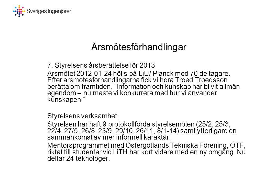 Årsmötesförhandlingar 7. Styrelsens årsberättelse för 2013 Årsmötet 2012-01-24 hölls på LiU/ Planck med 70 deltagare. Efter årsmötesförhandlingarna fi