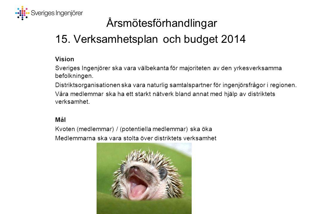 Årsmötesförhandlingar 15. Verksamhetsplan och budget 2014 Vision Sveriges Ingenjörer ska vara välbekanta för majoriteten av den yrkesverksamma befolkn