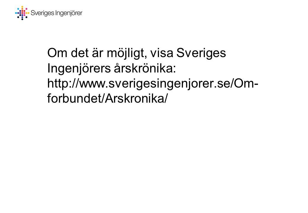 Om det är möjligt, visa Sveriges Ingenjörers årskrönika: http://www.sverigesingenjorer.se/Om- forbundet/Arskronika/