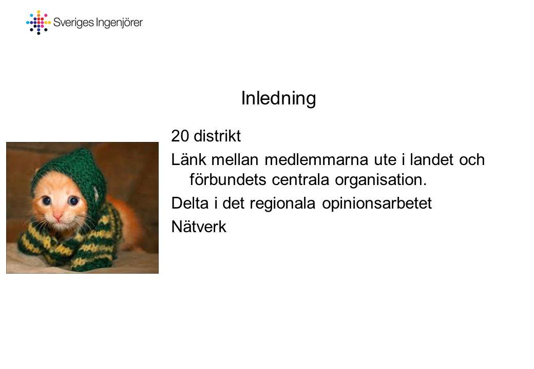 Inledning 20 distrikt Länk mellan medlemmarna ute i landet och förbundets centrala organisation. Delta i det regionala opinionsarbetet Nätverk