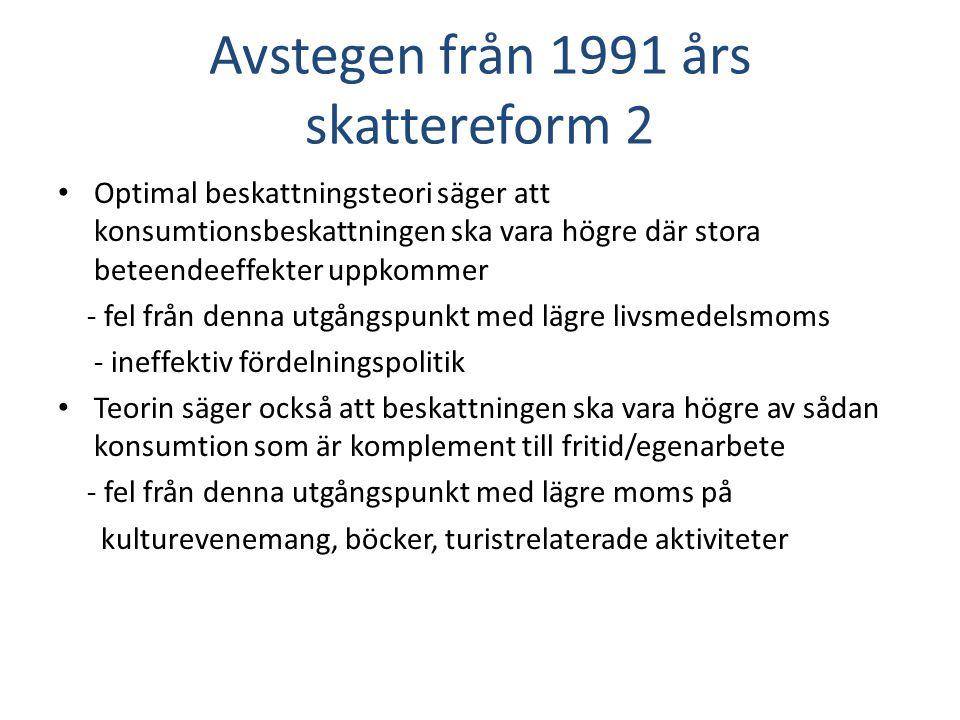 Fördelningsargument • Sverige har en internationellt sett mycket jämn inkomstfördelning • Men inkomstskillnaderna har ökat sedan början av 1980-talet • Ojämnare inkomstfördelning ökar värdet av omfördelning - avtagande marginalnytta