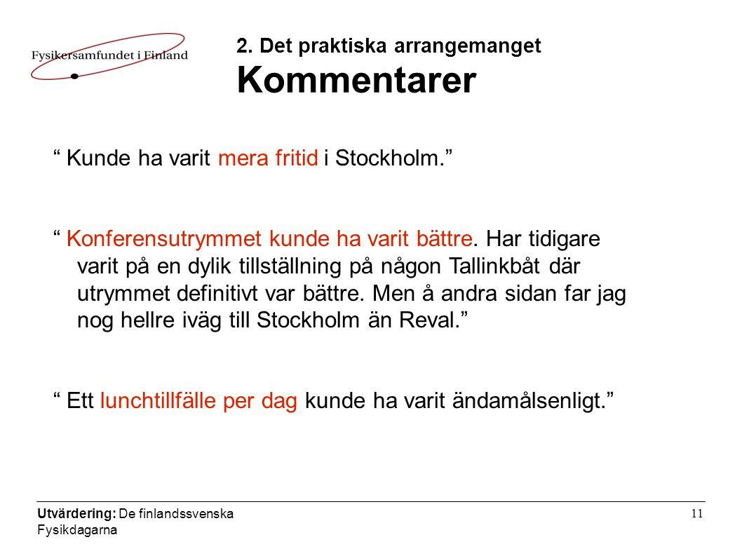 Utvärdering: De finlandssvenska Fysikdagarna 11 2.