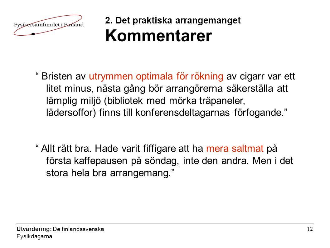 Utvärdering: De finlandssvenska Fysikdagarna 12 2.