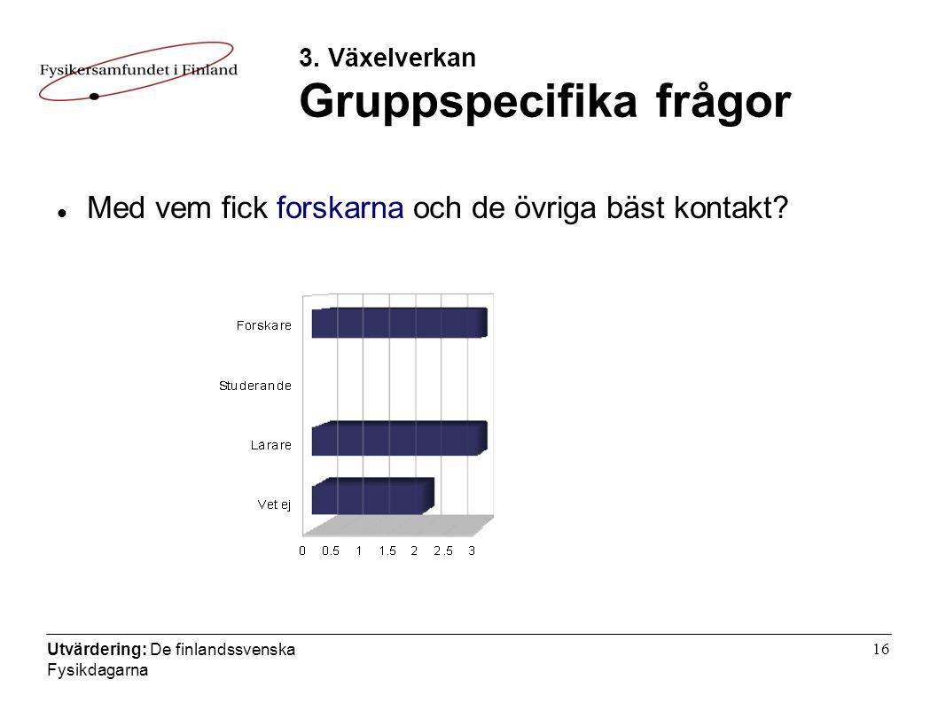 Utvärdering: De finlandssvenska Fysikdagarna 16 3.