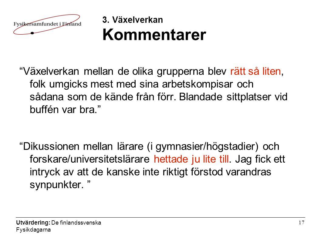 Utvärdering: De finlandssvenska Fysikdagarna 17 3.