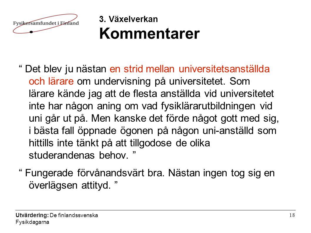 Utvärdering: De finlandssvenska Fysikdagarna 18 3.