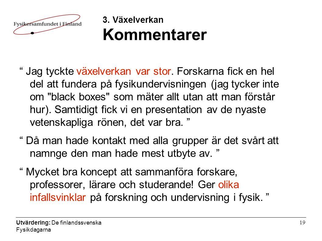 Utvärdering: De finlandssvenska Fysikdagarna 19 3.
