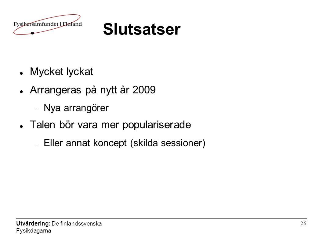 Utvärdering: De finlandssvenska Fysikdagarna 26 Slutsatser  Mycket lyckat  Arrangeras på nytt år 2009  Nya arrangörer  Talen bör vara mer populariserade  Eller annat koncept (skilda sessioner)