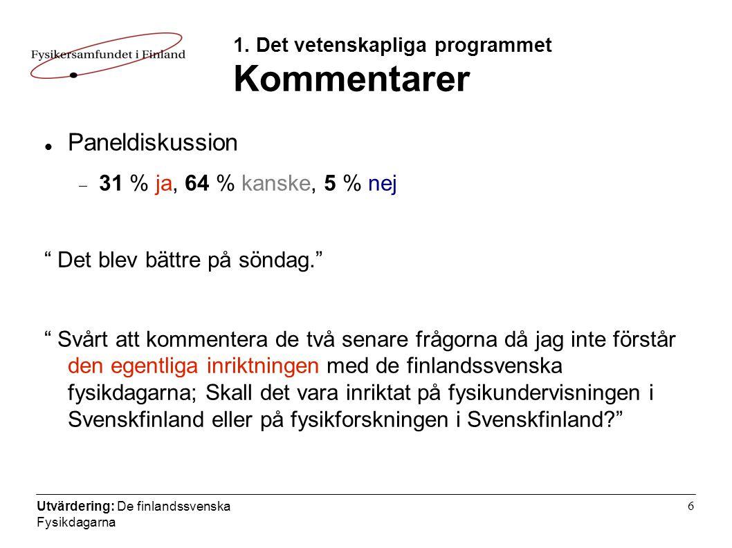 Utvärdering: De finlandssvenska Fysikdagarna 6 1.