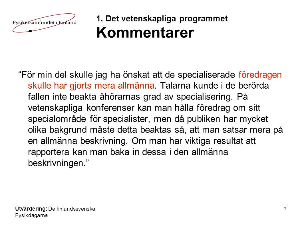 Utvärdering: De finlandssvenska Fysikdagarna 7 1.