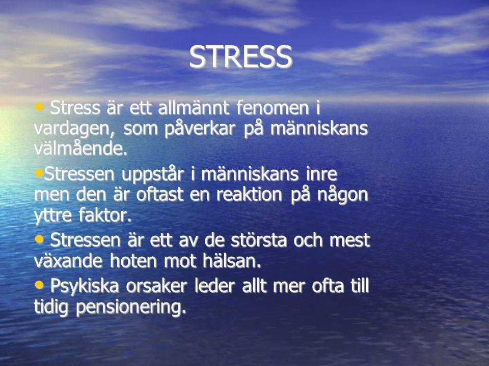 STRESS • Stress är ett allmännt fenomen i vardagen, som påverkar på människans välmående. • Stressen uppstår i människans inre men den är oftast en re