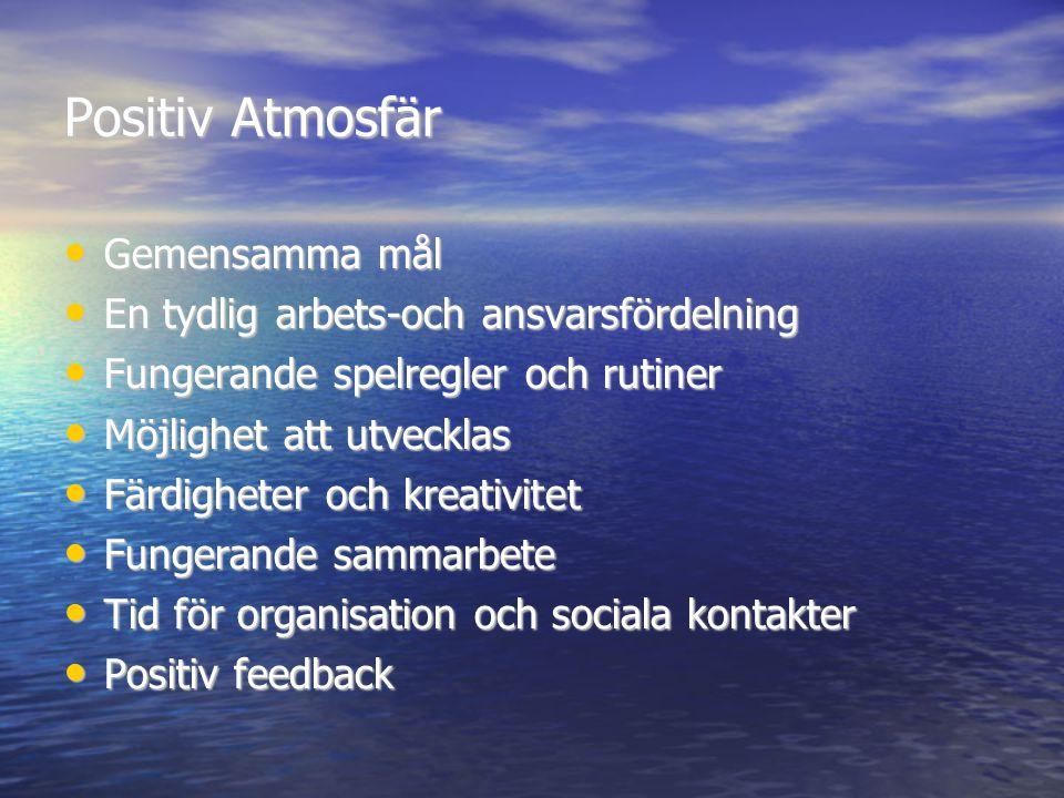 Positiv Atmosfär • Gemensamma mål • En tydlig arbets-och ansvarsfördelning • Fungerande spelregler och rutiner • Möjlighet att utvecklas • Färdigheter