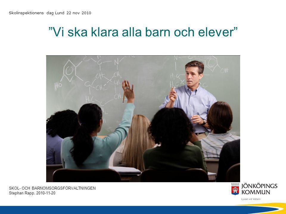 SKOL- OCH BARNOMSORGSFÖRVALTNINGEN Stephan Rapp, 2010-11-20 Skolinspektionens dag Lund 22 nov 2010 Vem är ansvarig för och vem kan påverka barnens/elevernas resultat.