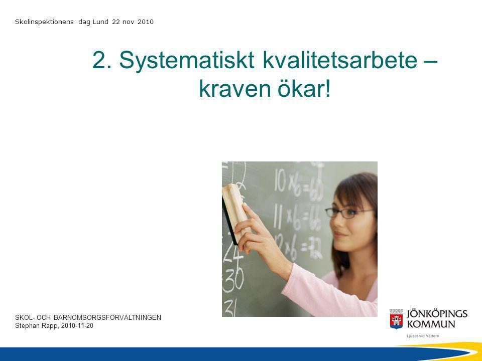 SKOL- OCH BARNOMSORGSFÖRVALTNINGEN Stephan Rapp, 2010-11-20 Skolinspektionens dag Lund 22 nov 2010 2.