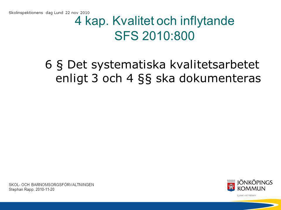 SKOL- OCH BARNOMSORGSFÖRVALTNINGEN Stephan Rapp, 2010-11-20 Skolinspektionens dag Lund 22 nov 2010 4 kap.