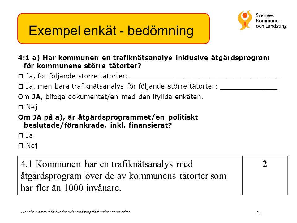 15 4:1 a) Har kommunen en trafiknätsanalys inklusive åtgärdsprogram för kommunens större tätorter.