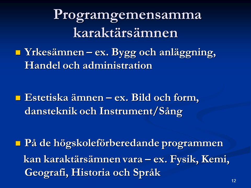 12 Programgemensamma karaktärsämnen Programgemensamma karaktärsämnen  Yrkesämnen – ex. Bygg och anläggning, Handel och administration  Estetiska ämn