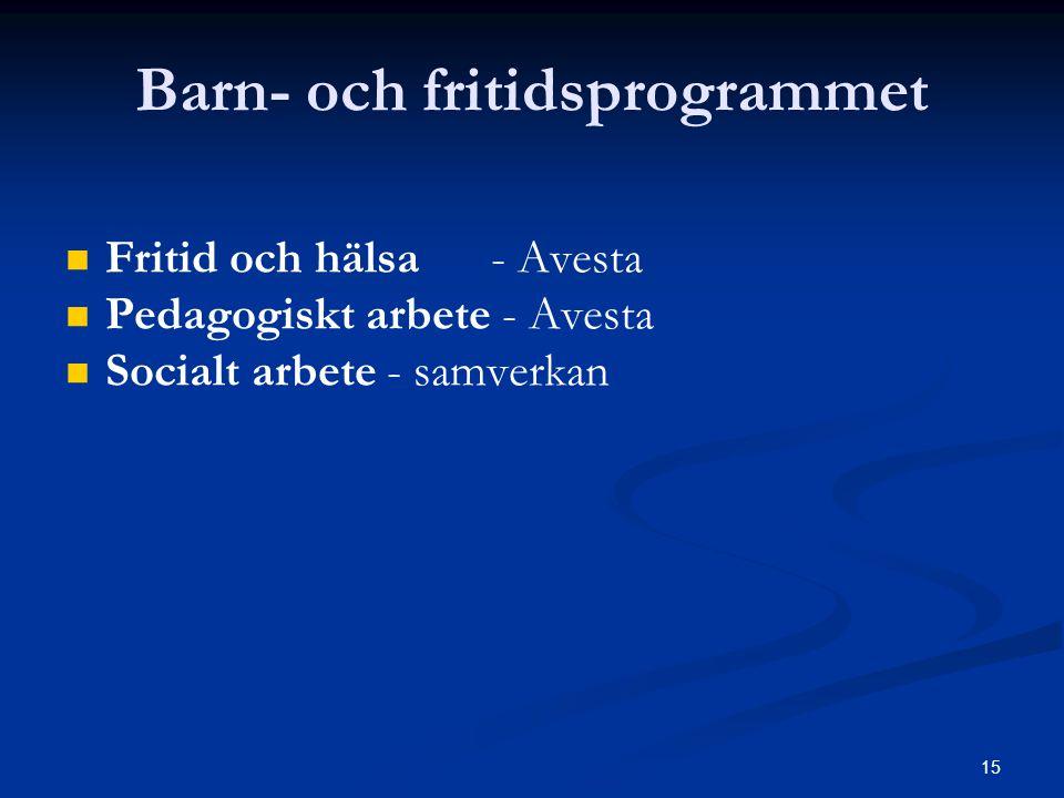 15 Barn- och fritidsprogrammet   Fritid och hälsa- Avesta   Pedagogiskt arbete - Avesta   Socialt arbete - samverkan