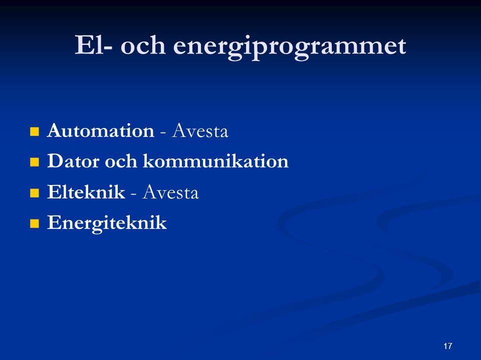 17 El- och energiprogrammet   Automation - Avesta   Dator och kommunikation   Elteknik - Avesta   Energiteknik
