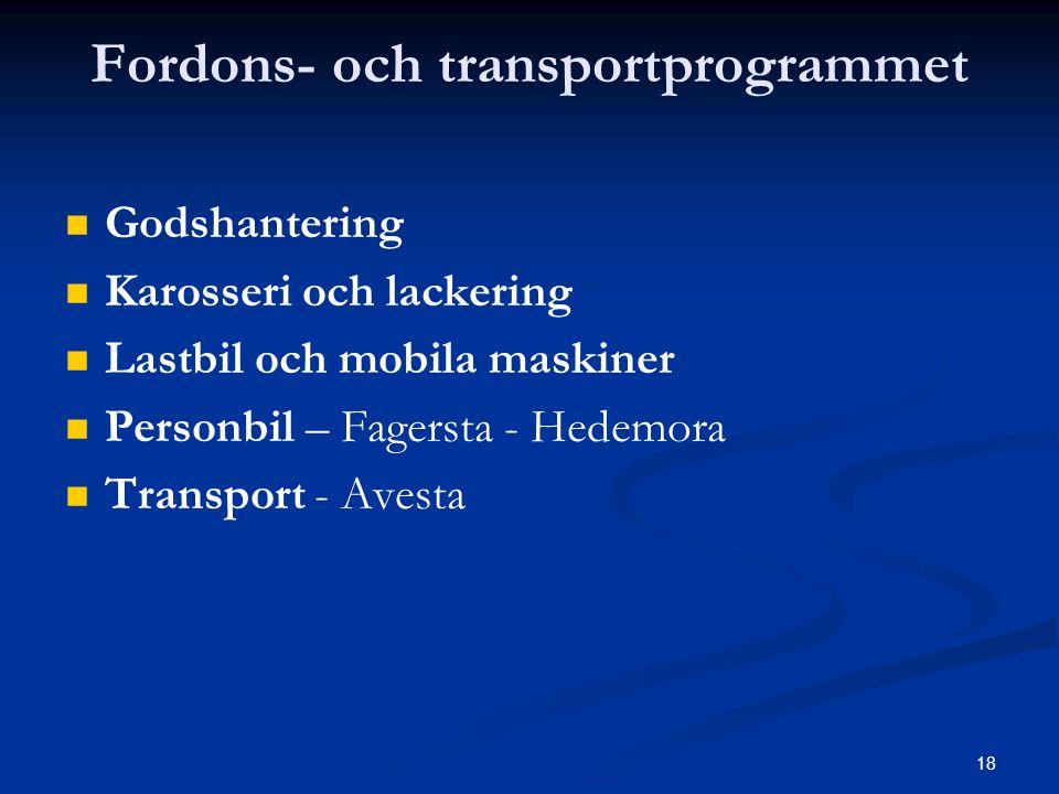 18 Fordons- och transportprogrammet   Godshantering   Karosseri och lackering   Lastbil och mobila maskiner   Personbil – Fagersta - Hedemora