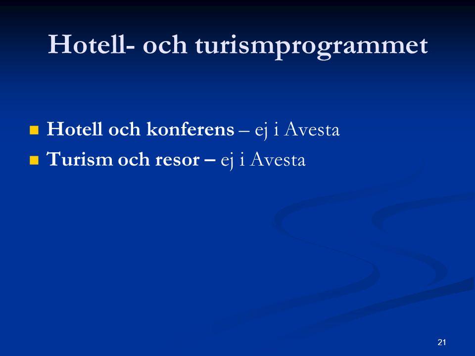 21 Hotell- och turismprogrammet   Hotell och konferens – ej i Avesta   Turism och resor – ej i Avesta